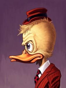 """Artwork by Howard the Duck creator Val Mayerik and artist Mike Mitchell. Edition of 145. 12"""" x 16""""."""